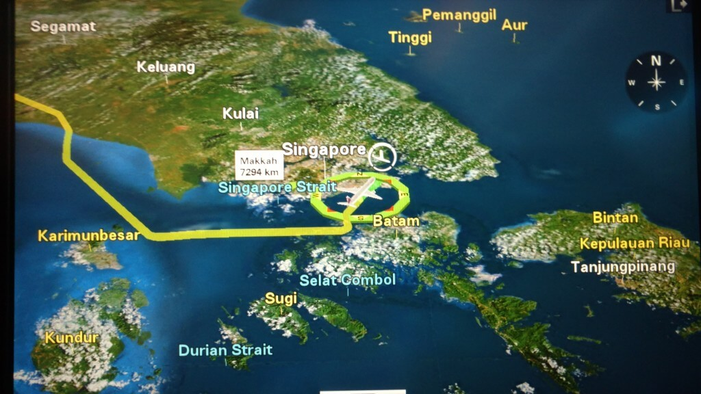 The Flight Map Prior to Landing in Singapore